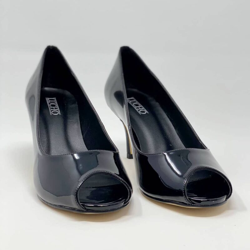 Black Kitten Heel Open Toe Pump