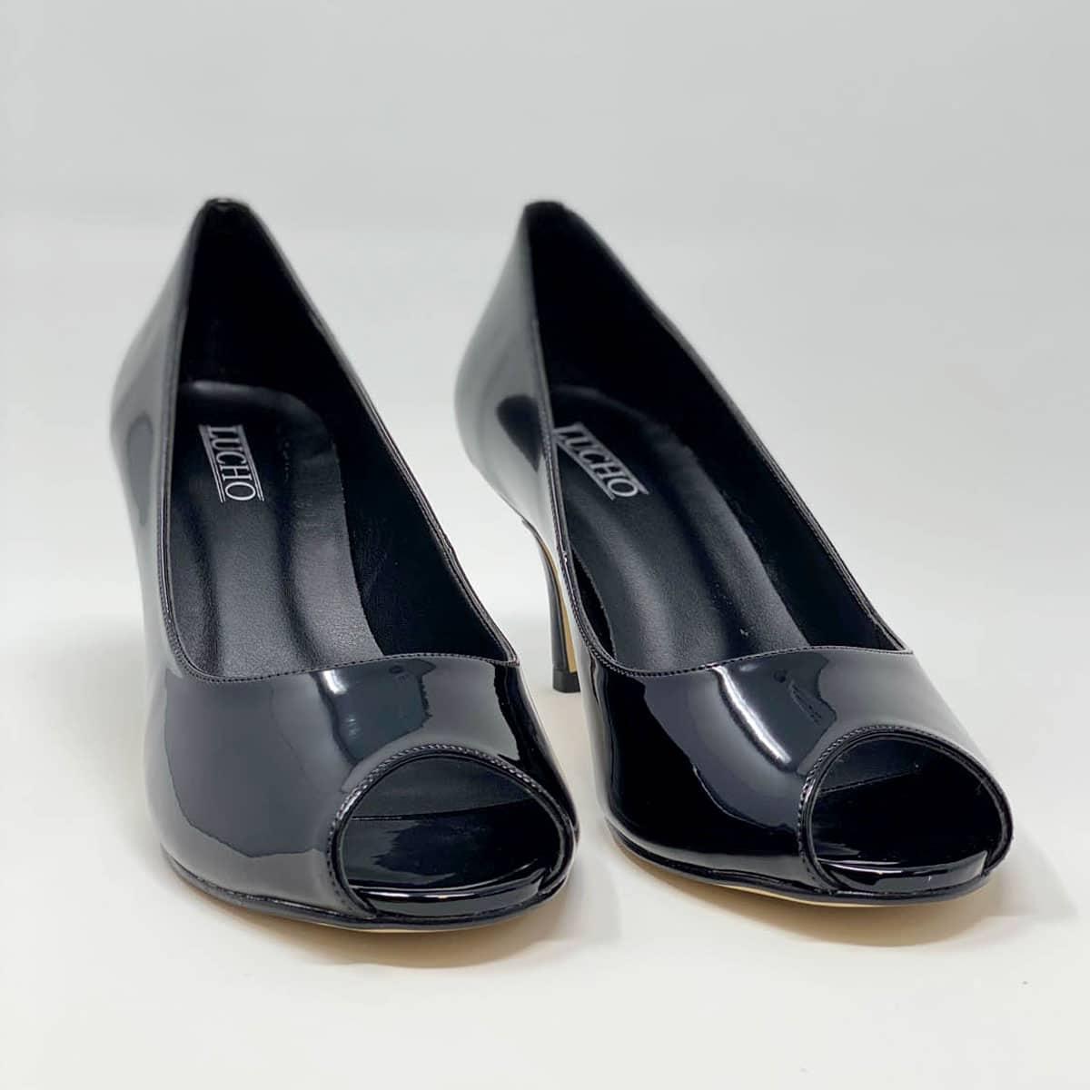 Black Kitten Heel Open Toe Pump